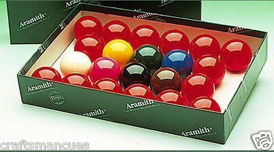 """Aramith Premiere Snooker Balls 2 1/16"""" - Full Size - Made In Belgium"""