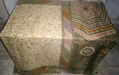 Cream Khaki Pure Silk 4 yard Vintage Sari Saree Israel Dress Curtain .com #ODRDE