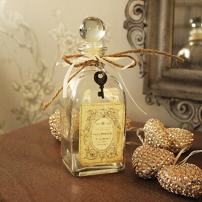 Clear glass perfume boudoir bottle shabby French chic vintage style ladies gift