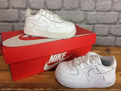 07112e74406e Nike Air Force 1 Infants Childrens Trainers In White Leather - Various Sizes