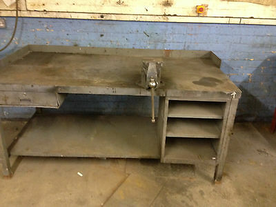 STEEL WORK TABLE heavy duty with RECORD VICE, 6' X 3' X 33""