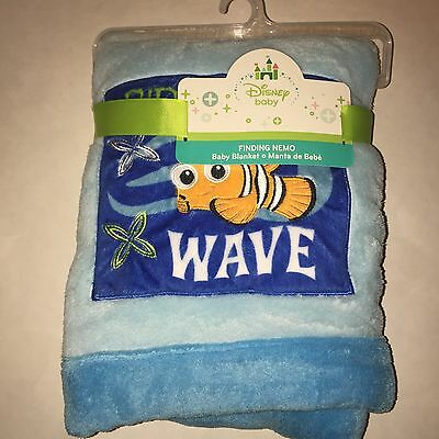 """Disney Baby Finding Nemo Plush Baby Blanket 30"""" X 40""""  ~ New With Tag"""