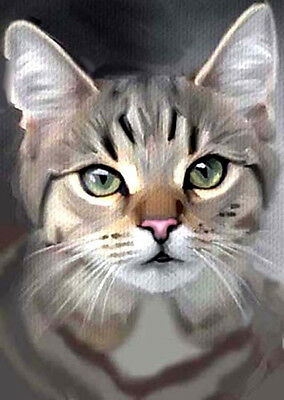 Aceo Miniature Oil Painting  Cat Grey Tabby Green Eyes