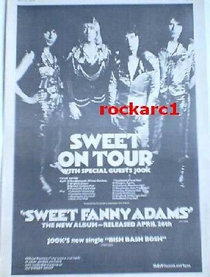 The SWEET 'Fanny Adams Tour 1974 UK Poster size Press ADVERT 16x12 inches