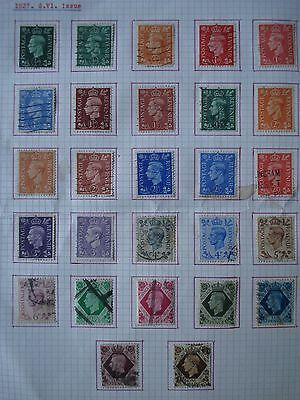 27 x different George VI UK definitive stamps on album page