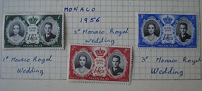 Monaco 1956 Royal wedding mint stamps (1F, 2F and 3F)