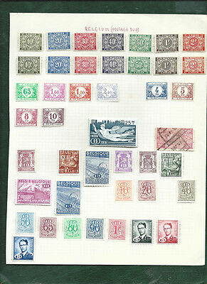 Belgium old postage due stamps and B stamps MH on album page