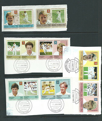 Tuvalu 1984-5 Famous Cricketers used on piece 35 stamps