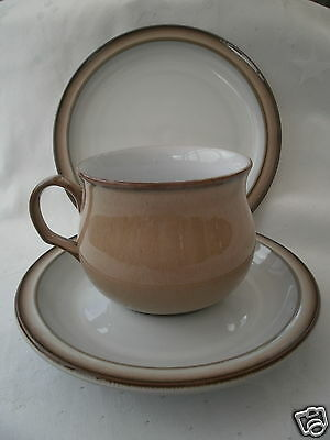 DENBY Stoneware VICEROY TRIO TEA/ESPRESSO COFFEE CUP AND SAUCER +TEAPLATE VGC
