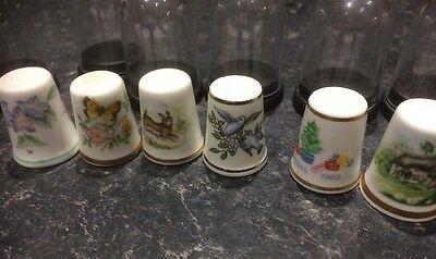 6 Royal  Worcester Thimbles Always Collectible Nice Addition Plus Domes