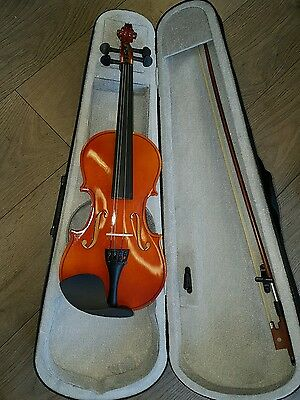 Natural Violin Beginner Student Pack Package With Case & Bow good condition 3/4