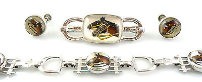 SET Vintage 1930s 40s Art Deco HORSES Sterling & Crystal BRACELET PIN & EARRINGS