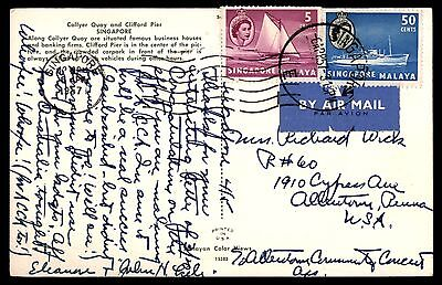 1957 Singapore Picture Postcard 2 Stamps To United States