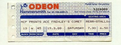 ACE FREHLEY'S COMET Kiss used TICKET HAMMERSMITH ODEON 19th March 1988