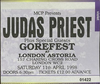 JUDAS PRIEST used TICKET GOREFEST, London Astoria 11th April 1998