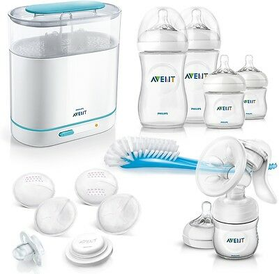 Philips Avent Complete Natural Starter Set Bottle Steam Sterilizer Pump Baby NEW