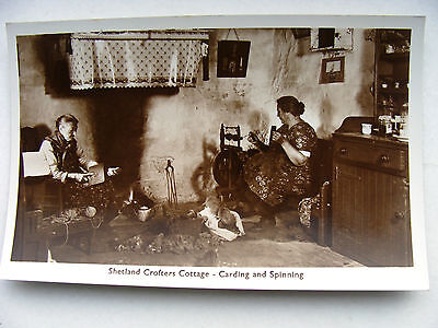 Shetland Crofter's Cottage Carding & Spinning RP New c.1957 Unknown Publisher