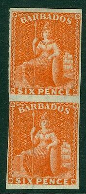 SG 60b Barbados 6d Orange Vermilion imperf pair, Full margins just clear to good