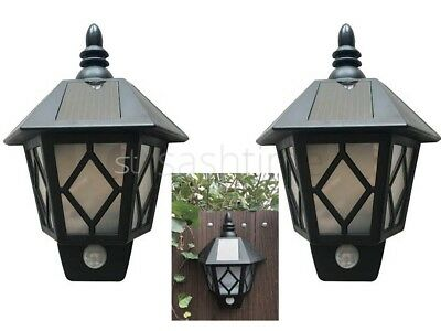 2 x SOLAR WALL MOUNTED LED PIR MOTION SENSOR SECURITY GARDEN OUTDOOR PATIO LIGHT