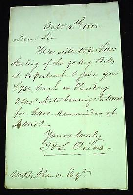 1828 Stampless Letter Halifax Nova Scotia Terms of Loan Extortion Signed