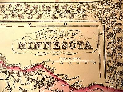 Antique Color Mitchell 1872 County Map of Minnesota
