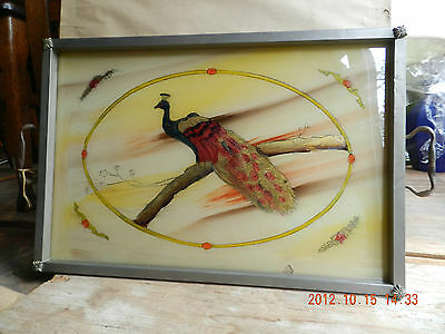 Vintage Peacock Serving Tray Reverse Painted Glass  **very Nice**