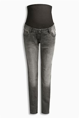 BNWT NEXT black grey washed maternity skinny jeans over the bump  14 Reg
