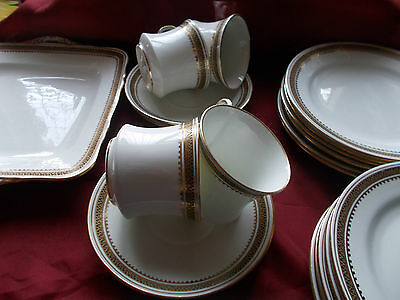 21 Pieces Of Samuel Radford Fenton China Pattern 1674 White With Gold Gilding