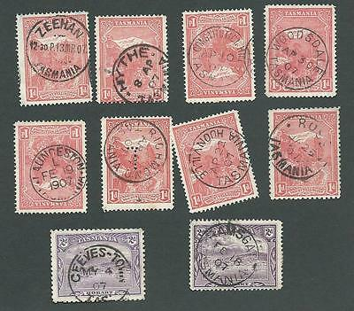TASMANIA. 1907. 10 x STAMPS. ALL NICE DIFFERENT TOWN CIRCULAR DATE STAMPS