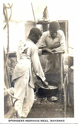 Fine Bahamas Real Photo p/c Spongers Morning Meal. Used 1923. Great Condition.