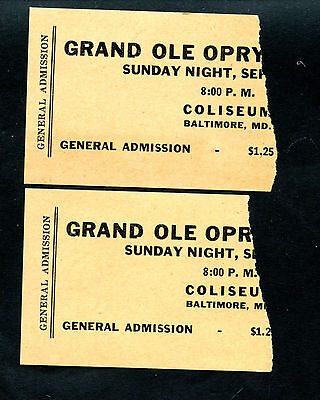 One Pair Of Vintage Grand Ole Opry Ticket Stubs From Baltimore Maryland See Pic