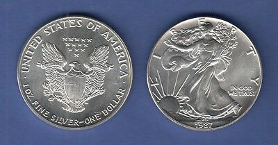 USA Silber-Anlage Münze Walking Liberty / American Eagle Jahrgang 1987 stg