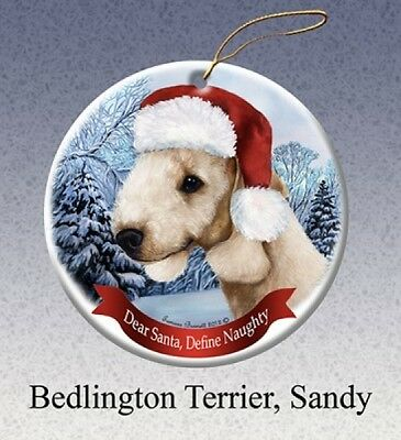 Dear Santa Define Naughty Ornament - Sandy Bedlington Terrier HO013