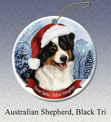 Dear Santa Define Naughty Ornament - Black Tri Australian Shepherd HO021