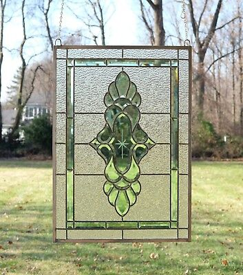 "Stained glass green transparent Clear Beveled window panel 19"" x 27"""