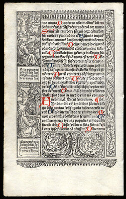 Book of Hours Leaf 1506 Vostre Psalms 45 & 76 Woodcut Scenes from Medieval Life