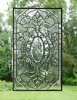 "Stunning Handcrafted stained glass Clear Beveled window panel, 20.5"" x 34.5"""