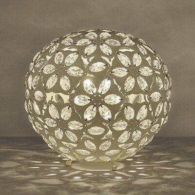 Moroccan Style Vintage Cream Metal Ball / Jewel Table Lamp Lantern Light Lamps