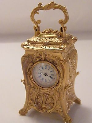 Miniature Gilded Carriage  Clock Working