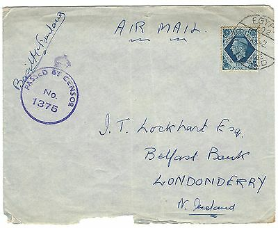 GB used abroad in EGYPT 1942 10d rate WWII censor airmail cover to Londonderry