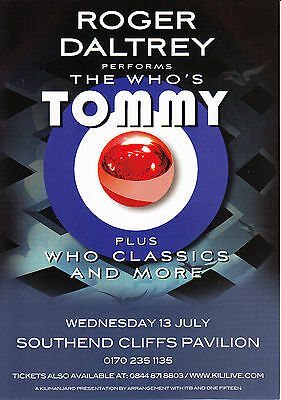 Roger Daltrey 'PERFORMS THE WHO'S TOMMY' Concert Flyer New - Southend Cliffs