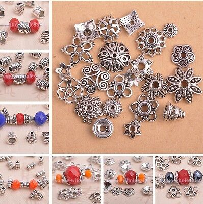 50/500pcs Wholesale Tibetan Silver Crafts Charms Loose Spacer Beads Caps
