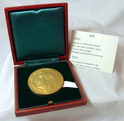 RARE Prince Charles Cased 1969 Investiture Bronze Medal by E Fey Eimer 2118 UNC