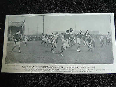 "DURHAM v MIDDLESEX   @ West Hartlepool 1905 RUGBY UNION 7""x 4"" ORIGINAL PRINT"