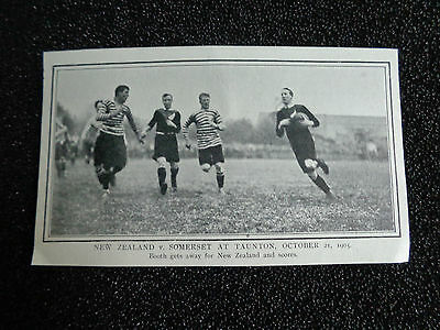 "NEW ZEALAND v SOMERSET@ Taunton 1905 RUGBY UNION Approx 5""x 3"" ORIGINAL PRINT"