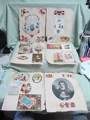 36 pcs on Victorian Scrap Book Pages   Fancy Card, Fringe Card, Advertising +