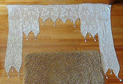 "Large 82"" Antique Victorian Hand Crocheted Curtain w/Dangling Balls Leaf design"