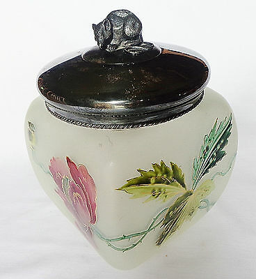 Antique Hand Painted Gold Trim Frsted Glass Biscuit Jar James W. Tufts Mouse Lid