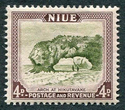 NIUE 1950 4d olive-green and purple-brown SG117 mint MH FG Hikutavake Arch #W6