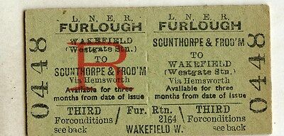 Railway Ticket; LNER.  Scunthorpe & Frodingham to Wakefield Westgate